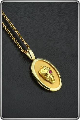 Gold Snake Skull Pendant