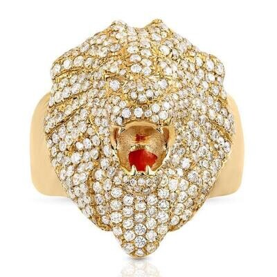 Fierce Gold Diamond Lion Ring