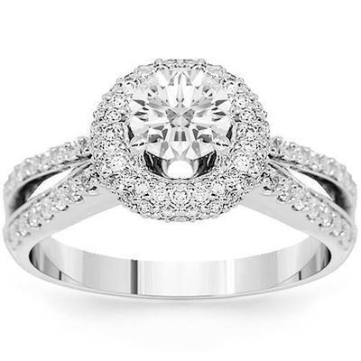 Round Diamond Double Band Engagement Ring