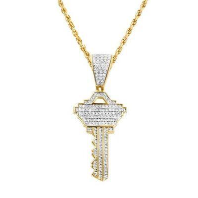 Gold Diamond Key Pendant