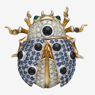 Gold Multi-Stone Ladybug