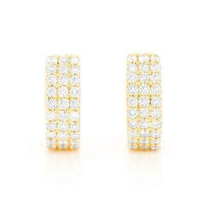 14K Gold Diamond Cuff Earrings