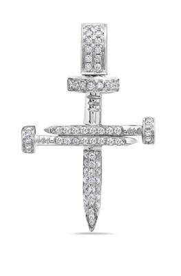 SOLID 18K DIAMOND NAIL CROSS
