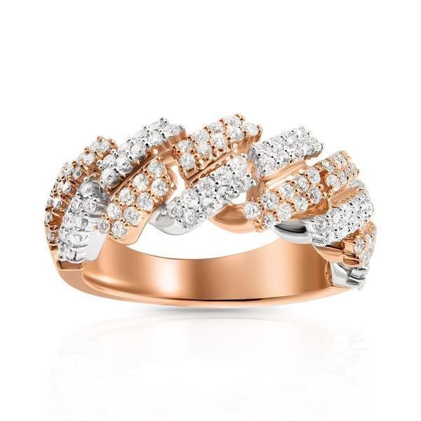 Two-Tone Prong Cuban Ring