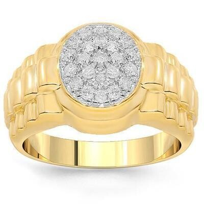 Gold Diamond Pinky Ring