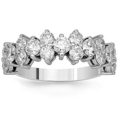 Diamond Clusters Ring Band