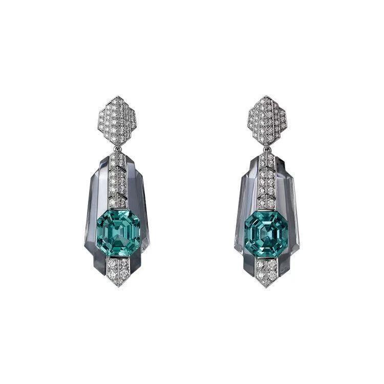Platinum Emerald Earrings