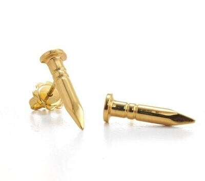 SOLID 18K GOLD NAIL EARRINGS