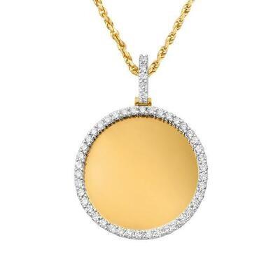 Gold Diamond Circle Picture Pendant
