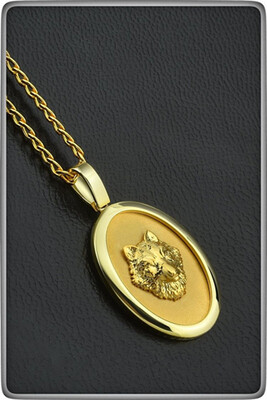 Gold Wolf Pendant