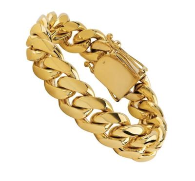 18K SOLID GOLD CUBAN BRACELET (15.5 MM)