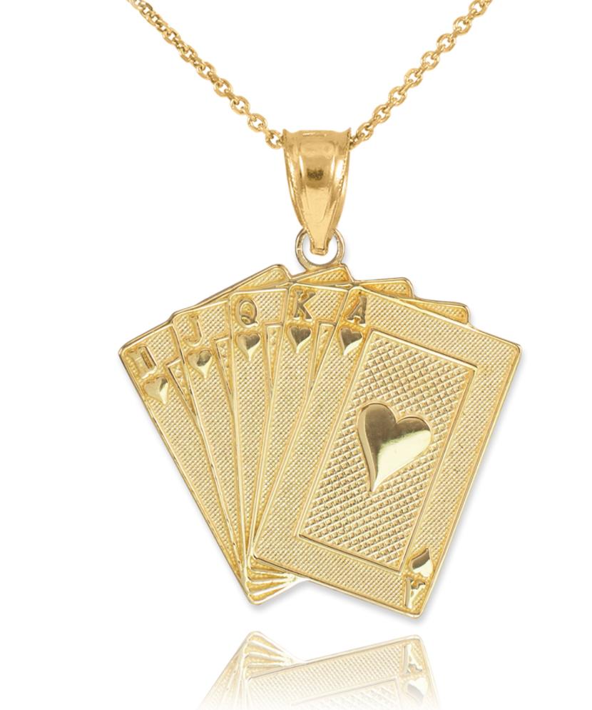 Solid 18K Gold Royal Flush Pendant