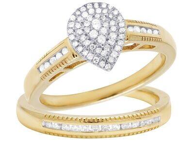 Pear Shape Diamond Engagement Ring Set