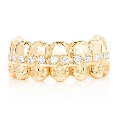 14K Gold Diamond Skulls Ring