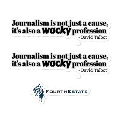'Journalism is not just a cause' stickers