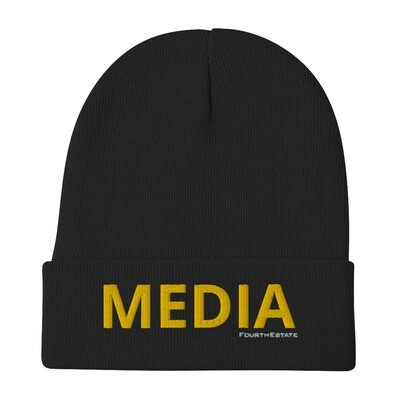 'MEDIA' Yellow Letter Embroidered Beanie
