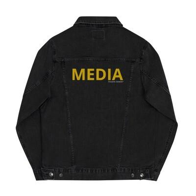 'MEDIA' Yellow Letter Unisex Denim Jacket