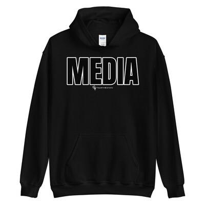 'MEDIA' Outline Letter Unisex Hoodie