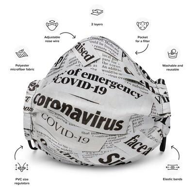 Coronavirus News Headlines Premium Face Mask
