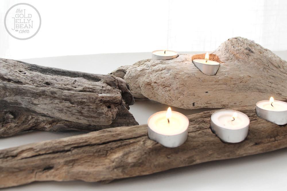 Driftwood Tea Light Candle Holder