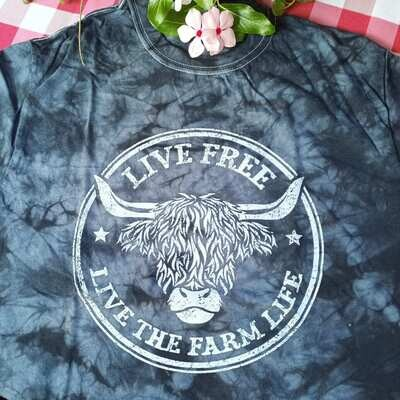 """Live the Farm Life"" Tie-Dye Black/Gray T-shirt"