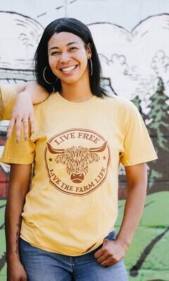 """Live Free"" Highland Cow T-shirt"