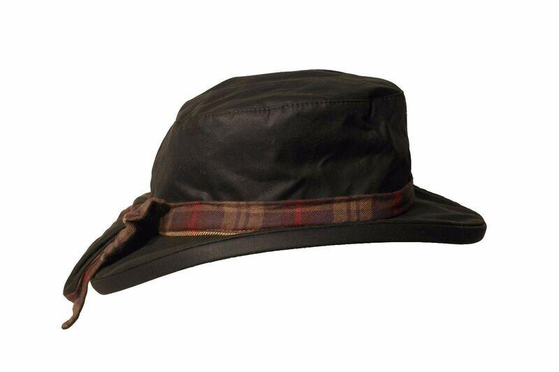 Hat Ladies Wax Riding Thelma Bow Knot With Tartan Trim