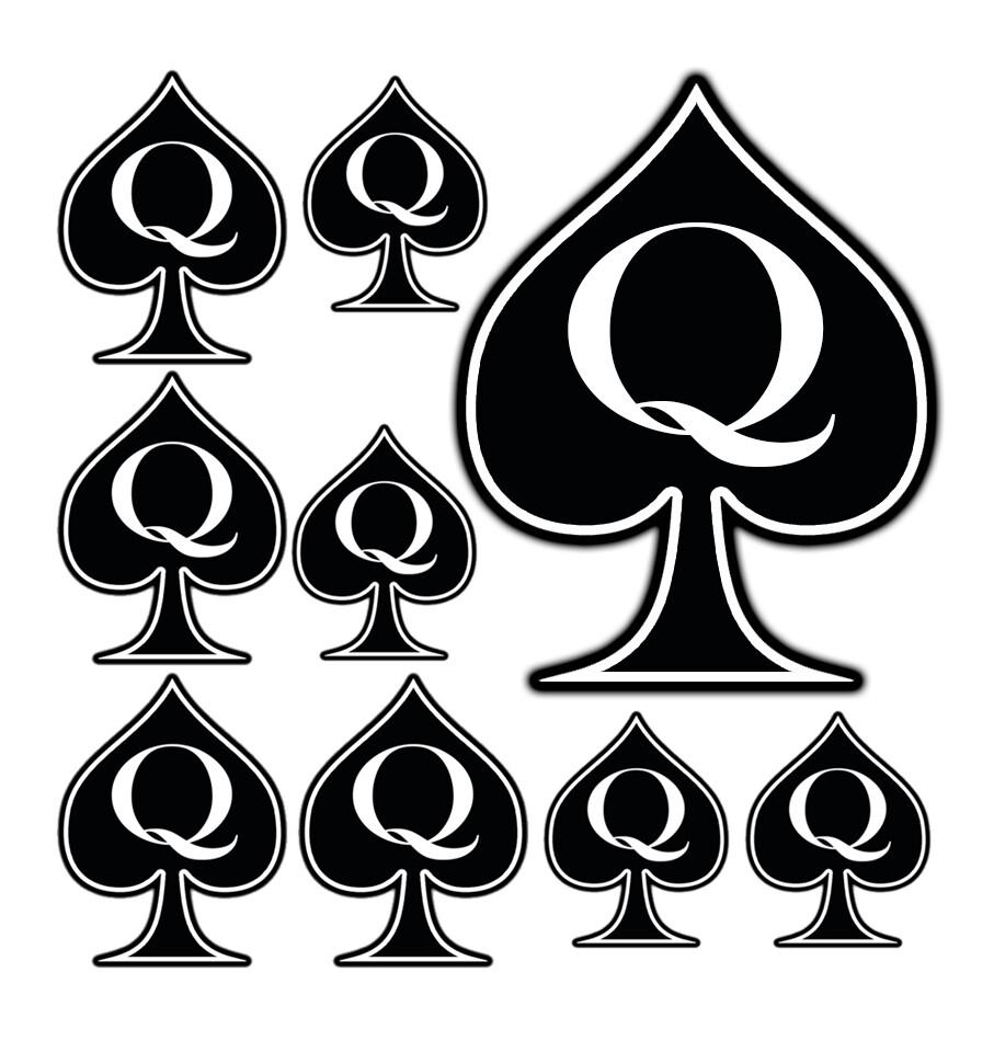9pc Temporary Tattoo Queen of Spades BBC QOS SpadesCastle Cuck