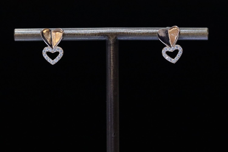 Solitaire Drop Heart Earrings
