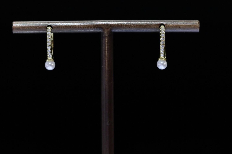 Solitaire Hoop Pearl Earrings