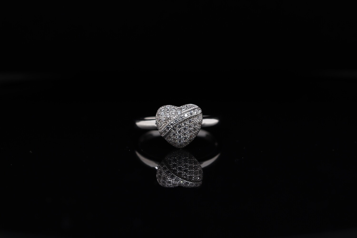 Solitaire Heart Embedded Ring