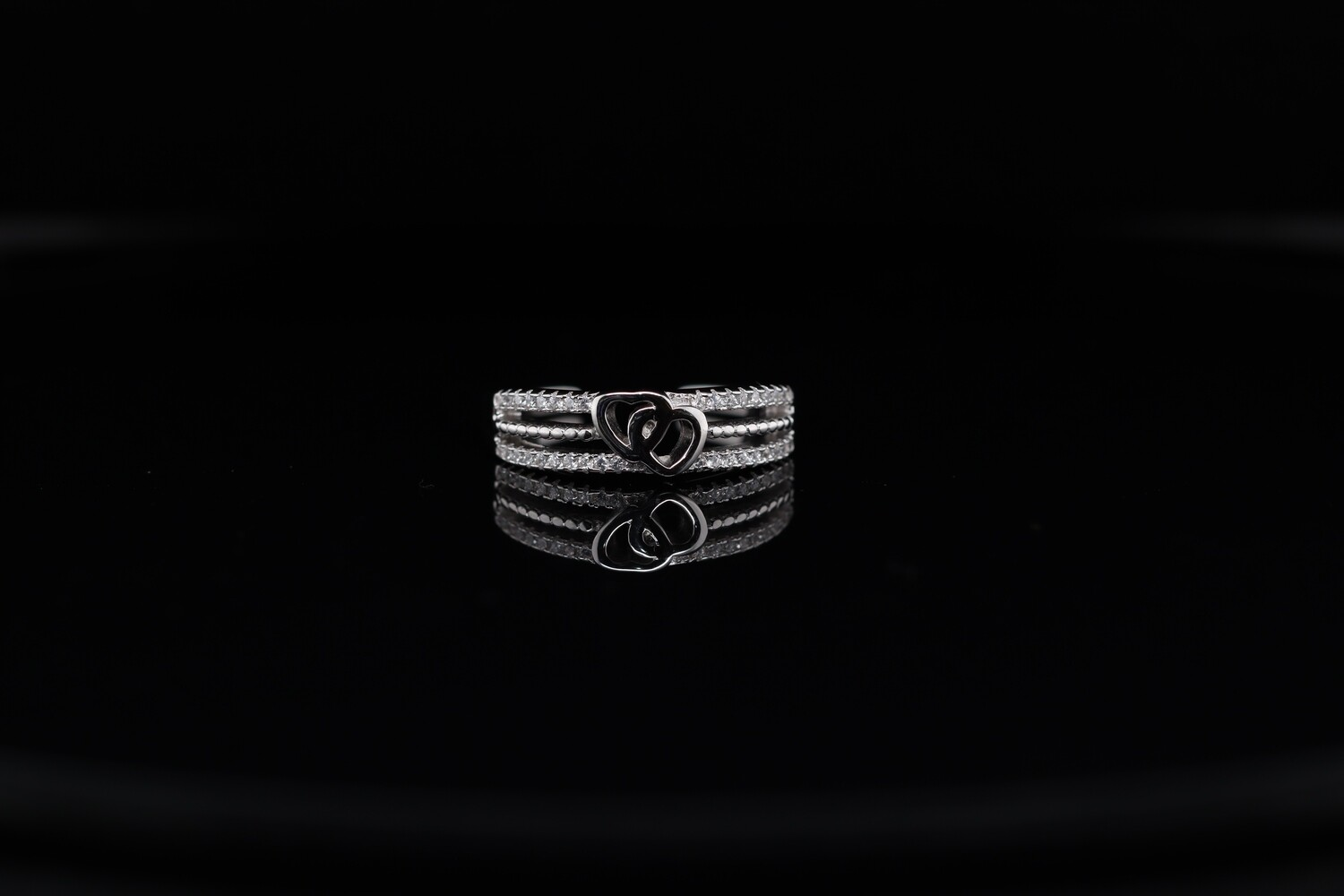 Solitaire Two Hearts Sparkling Ring