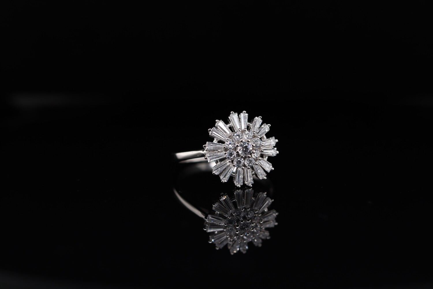 Solitaire Open Flower Ring