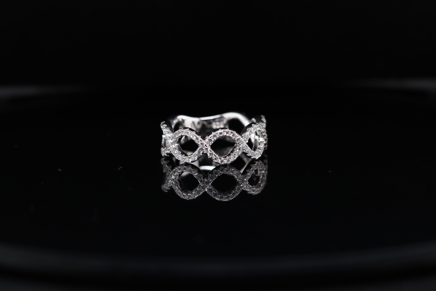 Solitaire Double Wave Ring