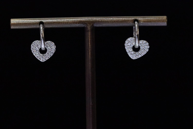 Solitaire Hoop Heart Earrings