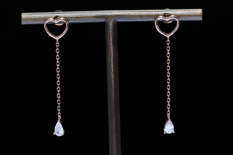 Solitaire Heart Drop Earrings