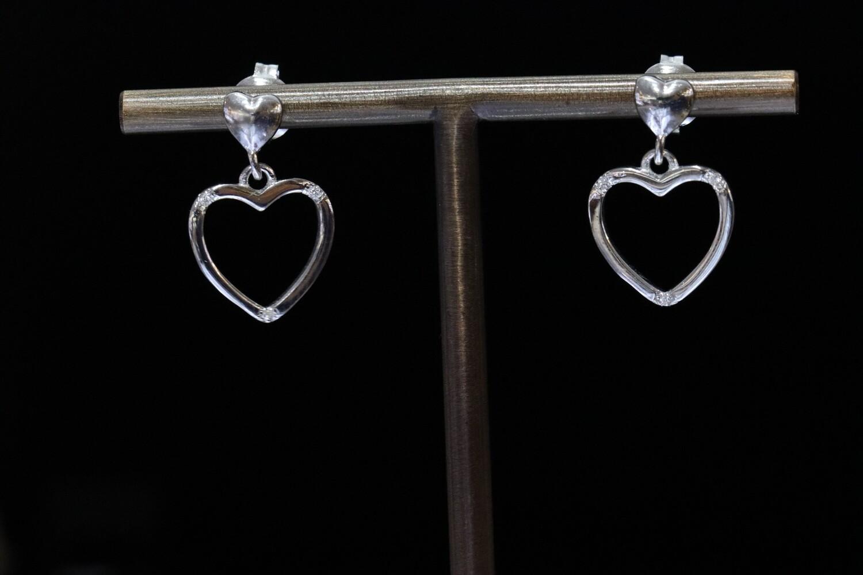 Solitaire Heart Hoop Earrings