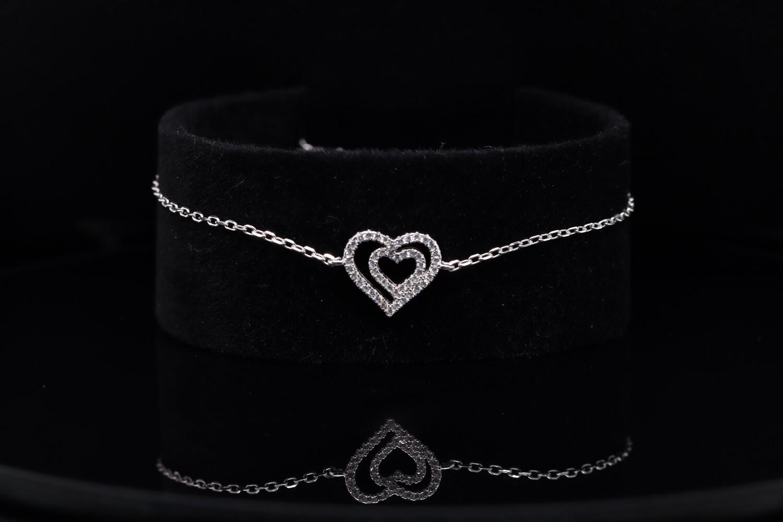 Solitaire Double Heart Silver Bracelet
