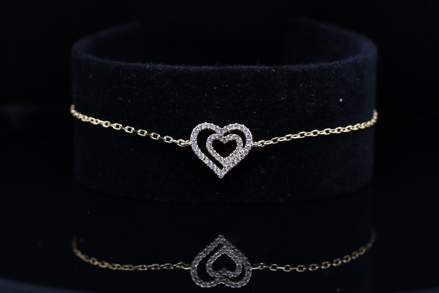 Solitaire Heart Shaped Gold Silver Bracelet