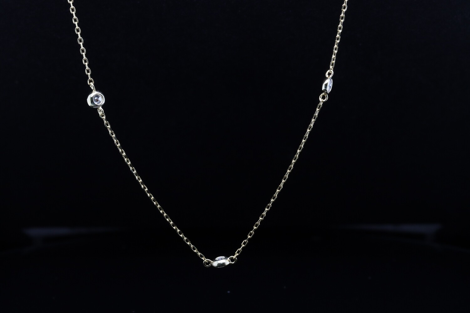 Solitaire Yellow Silver Long Chain