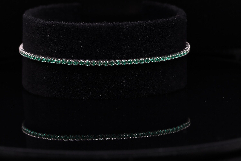 Solitaire Green Sparkling Bracelet