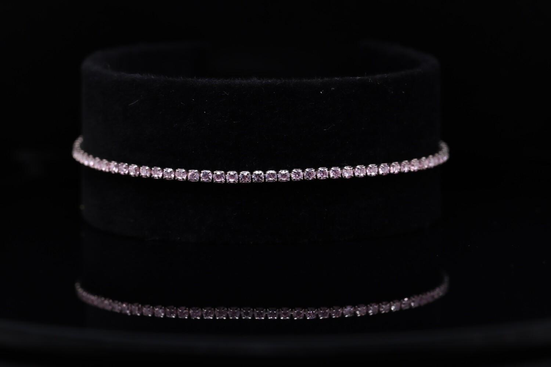 Solitaire White Silver Bracelet