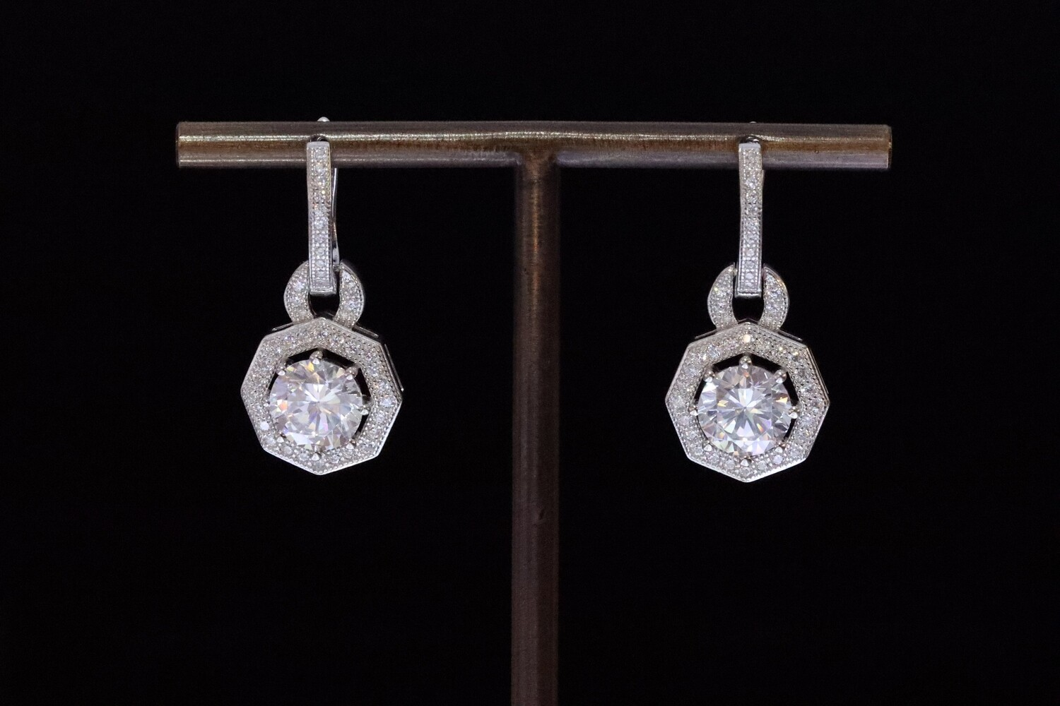 Solitaire White Octagon Shining Earrings