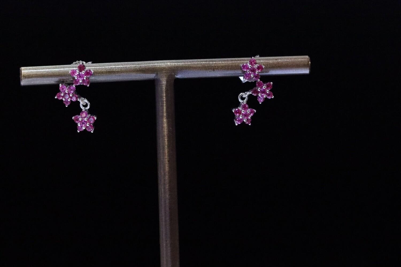 Solitaire Purple Flower Earrings