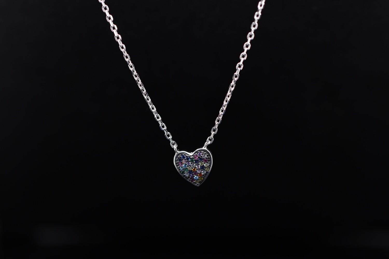 Solitaire Coloured Heart Pendant