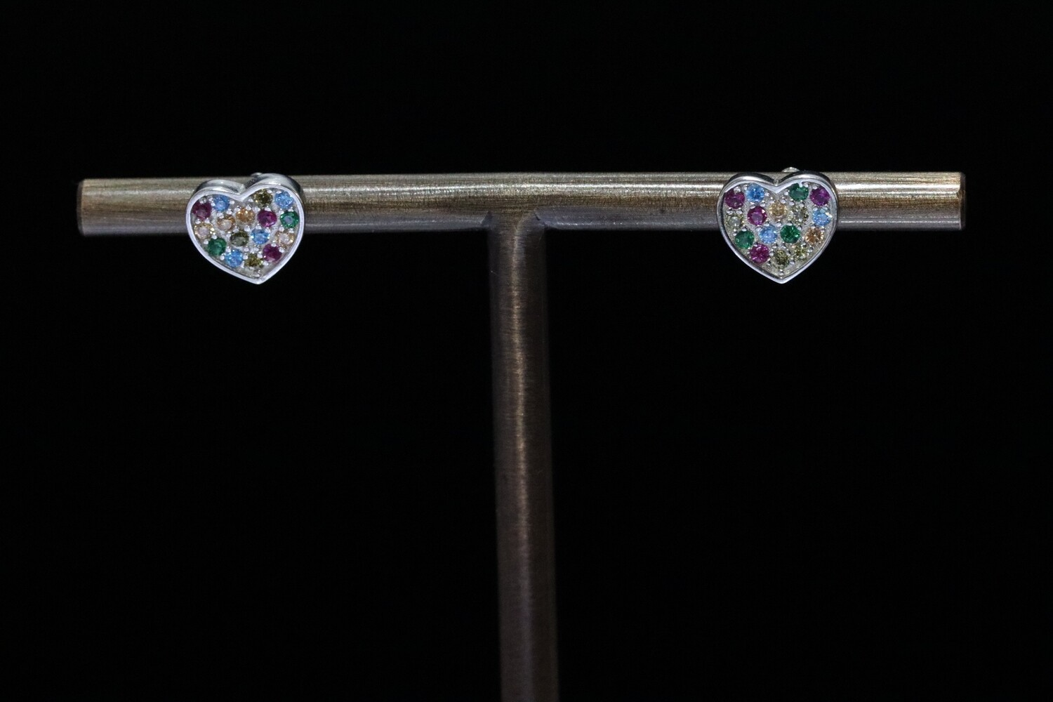 Solitaire Coloured Crystal Heart Stud