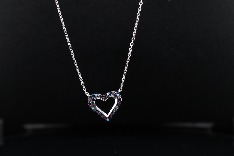 Solitaire Halo Heart Pendant