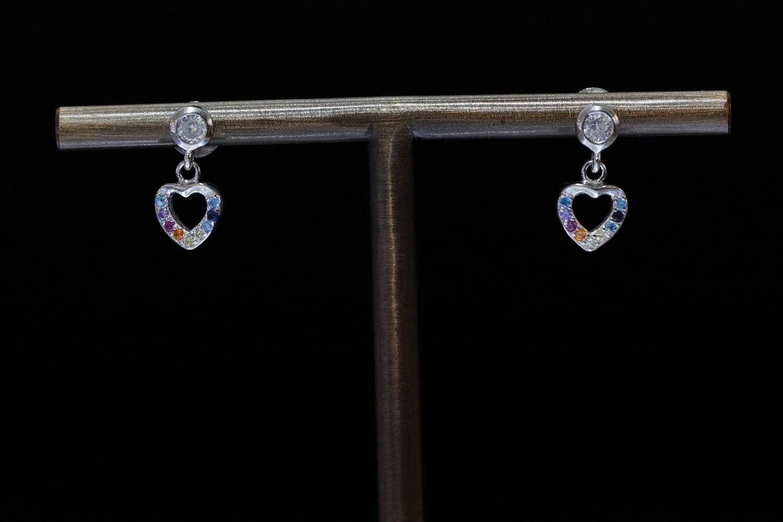 Solitaire Halo Heart Hoop Earrings