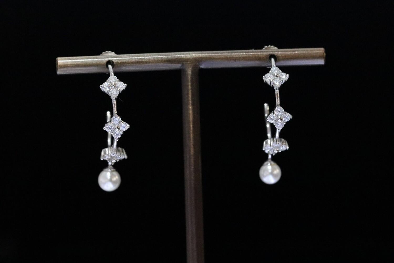 Solitaire White Crystal Hoop Earrings