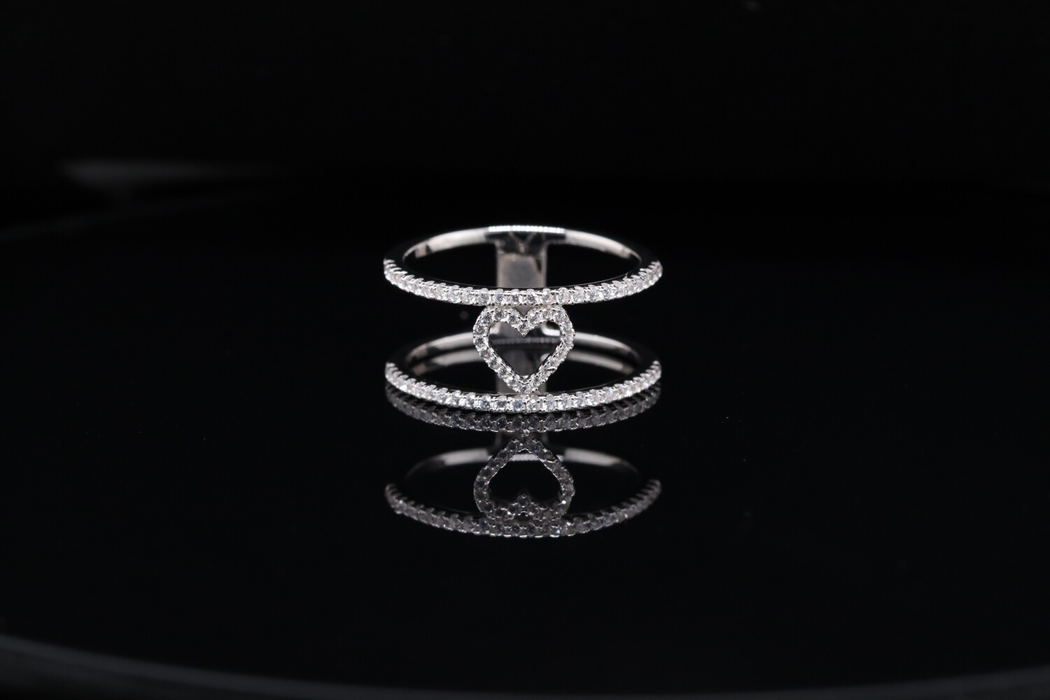 Solitaire Big Halo Heart Ring